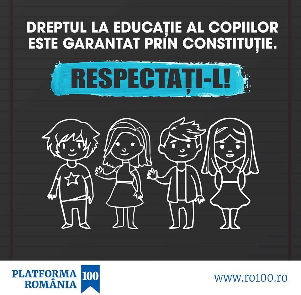 Platforma România 100 cere Guvernului stoparea comasării și a închiderii iresponsabile a școlilor, atac direct la dreptul la educație al copiilor!