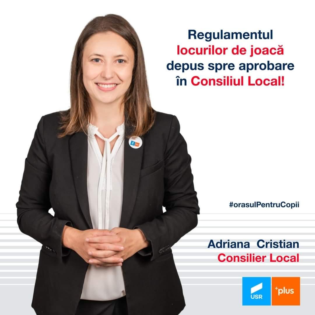"""Adriana Cristian: """"Un nou pas în transformarea Clujului în Orașul pentru Copii: am depus regulamentul locurilor de joacă!"""""""